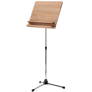 K&M 118/3 (11831) Orchestra music stand. Nickel with Walnut wooden desk