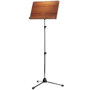 K&M 118/4 (11841) Orchestra music stand. Nickel with Walnut wooden desk