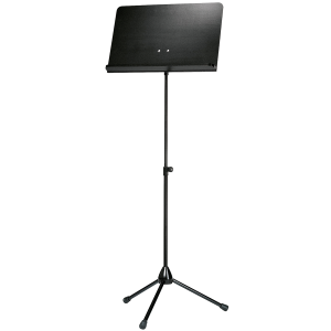 K&M 118/5 Orchestra music stand. Black with black wooden desk