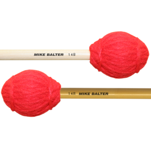 Mike Balter BA-14R Ensemble Series Marimba mallet. Medium-Soft. Rattan stok. rood