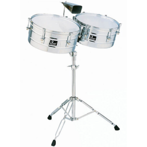 OSAN LT4034 Timbale set metal 13/14 incl.stand latin type